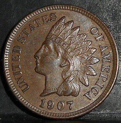 1907 Indian Head Penny, AU/UNC, Nice Coin...problem free...