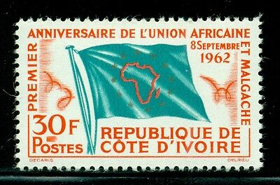 Ivory Coast Scott #198 MNH 30Fr African Union Issue MAP Flag $$