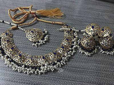 Bridal Jewellery Indian/Pakistani Gold Plated Necklace, Jhumki & Tikka Set