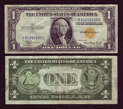 1935-A North Africa 1$ Silver Certificate Yellow Seal Dollar Bill Fr-2306 (P824)