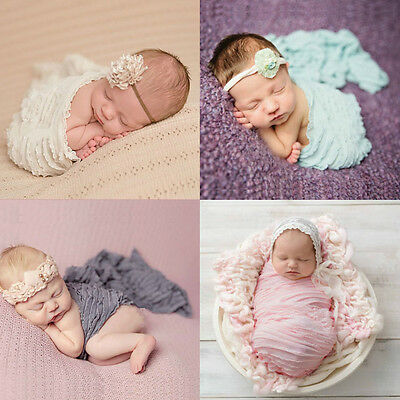 Infant Baby Newborn Ruffle Swaddle Wrap Blanket Stretch Photography Photo Prop