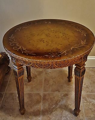 Vintage French Louis Xvi Style Carved Gilt Wood Table Reverse Eglomise Glass