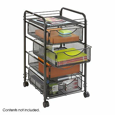 Rolling Metal Organizer Storage Closet Cart Crafts With 4 Collapsible Drawers