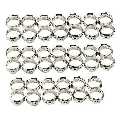 1/2 inch PEX Stainless Steel Clamp Cinch Rings Crimp Pinch Fitting 40 pcs