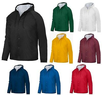 MEN'S LINED COACH'S JACKET w/ HOOD, SNAP FRONT, WATER RESISTANT, POCKETS, S-3XL