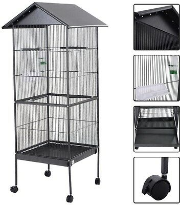 Large Parrot Bird Cage Play Top Pet Supplies w Perch Stand Two Doors Dark Gray