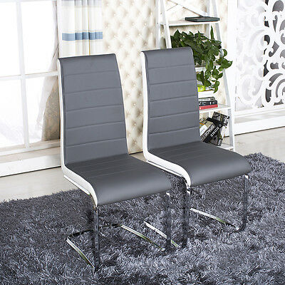 2 4 6 Grey White Side High Back Dining Office Chairs Faux Leather Chrome Legs