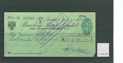 wbc. - CHEQUE - CH1220- USED -1951- BARCLAYS BANK, 208 REGENT ST. LONDON W1
