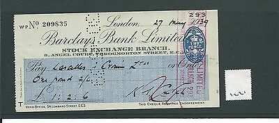 wbc. - CHEQUE - CH1221- USED -1939- BARCLAYS BANK, STOCK EXCHANGE. LONDON EC2