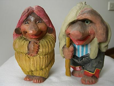 Vintage Wood Carved Norwegian Trolls Folk Art