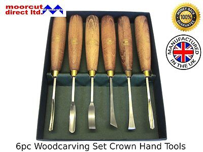 Woodcarving Set Beginners 6pc Crown Hand Tools 5mm & 8mm Chisels
