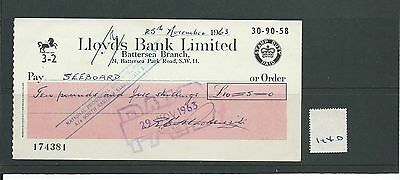 wbc. - CHEQUE - CH1240- USED -1963- LLOYDS BANK, BATTERSEA, LONDON SW11