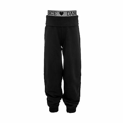 Childrens Dance Joggers Girls Tracksuit Jogging Bottoms Roll Up Cuff Gym Pants