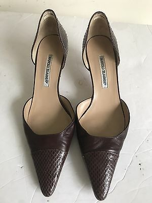 a9c5e3b15b2d2 MANOLO BLAHNIK BROWN Snake Skin Kitten Heel Pumps 40 US 9 1/2 $895 ...