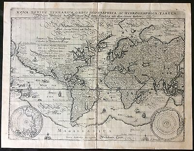 Extremely Rare & Detailed 1638 Map Of The World By Matthaeus Merian
