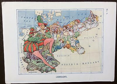 Very rare 1912 caricature map of Germany drawn by Lillian Tennant