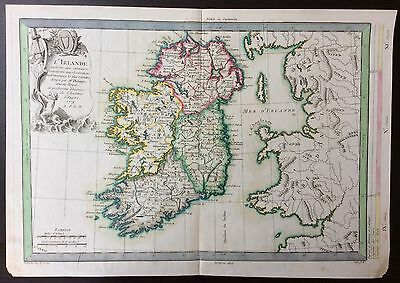 c.1779 antique map of Ireland by Etienne Andre Philippe De Pretot