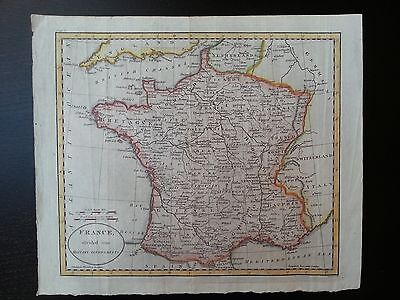 1798 antique map of France by William Guthrie
