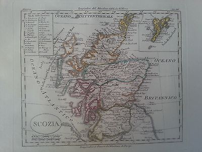 Original and rare 1820 map of Scotland, the Orkneys and Shetland by Luigi Rossi