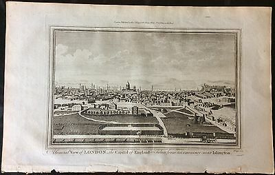 Original and rare 1784 view of London from a viewpoint in Islington