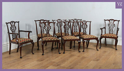 Antique Set of 8 Waring Gillow Georgian Chippendale Style Mahogany Dining Chairs