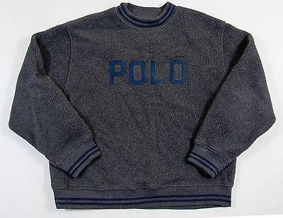 "Men's Polo Ralph Lauren ""POLO"" Embroidered Dark Gray Crewneck Sweater - XL"