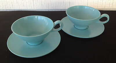 Mid Century Modern Boontonware Set of 2 Turquoise Cups 3206-8 and Saucers 3202-5