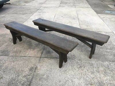 Pair of antique pine farmhouse benches