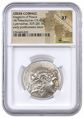 Greek Thrace Silver Tetradrachm of Early Posthumous Lysimachus NGC XF SKU42223