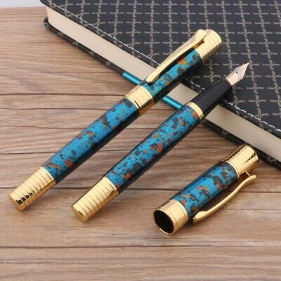 1pc new Office writing metal golden  Ice flower blue student gift Fountain Pen