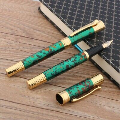 1pc new writing metal golden Ice flower GREEN student M Fountain Pen