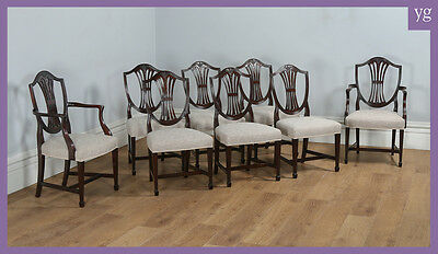 Antique Set of 8 English Georgian Hepplewhite Style Mahogany Dining Chairs