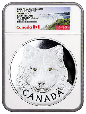 2017 Canada Eyes of Timber Wolf 1 Kilo Silver Proof $250 NGC PF70 UC ER SKU46102