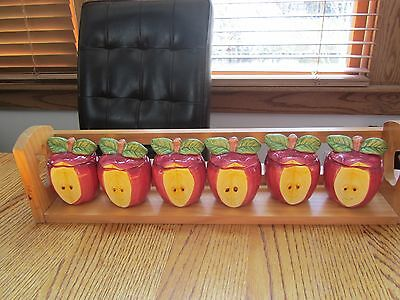 Spice Rack-Set Of 6 Ceramic Apples Containers W/ Apple Cutout Wood Rack!
