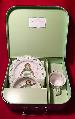 Kelly B. Rightsell Little Man Gift Set Monkey Dinner Ware With Case