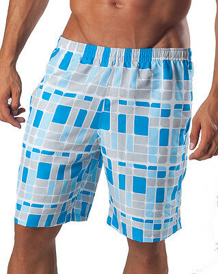 GERONIMO Mens Swimming Shorts Blue Red Green Shapes Swimwear Beach Sport Outdoor