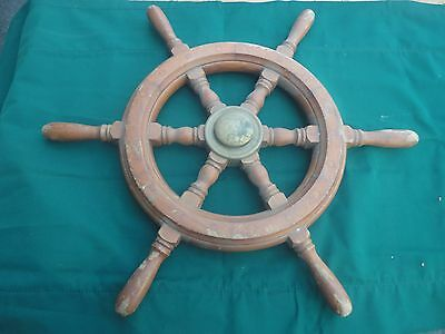 """24"""" Real Deal Antique Wooden Boat Steering Wheel"""