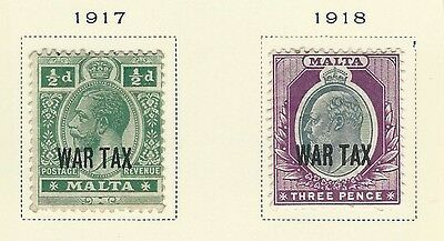 Malta - #mr1-#mr2 - King George V War Tax Mint / Used Stamps (1917-1918) Mh