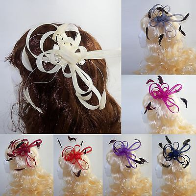 Wedding Day Large Loop Fascinator on Clear Comb with Feather detail