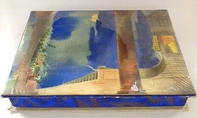 Vintage PUZZLE TOP 1950s Candy/Chocolate Box OLD STORE STOCK HTF Blue Trees