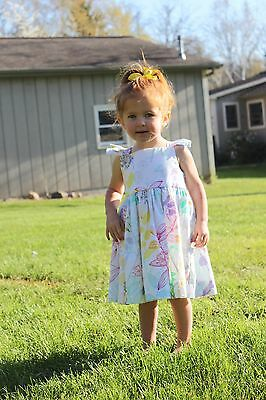 Girls ruffled sleeve grow with me vintage floral summer sundress. Sizes 1-8