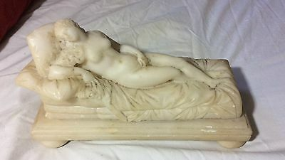 19th Cent. Marble Statue of a Nude Woman Laying on a Couch