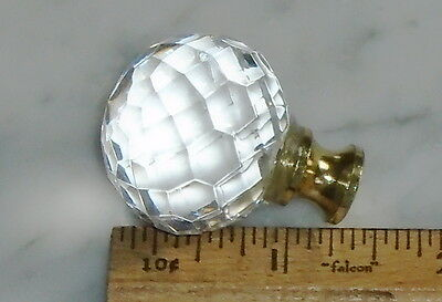 9 Vintage Lucite Prismatic Ball Orb Knob Gold Tip Cabinet Door Drawer Pulls