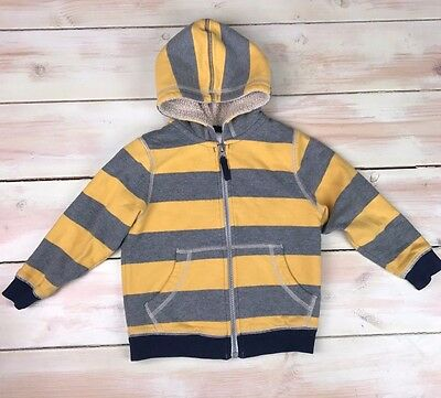 HANNA ANDERSSON Boys Yellow & Grey Hoodie Jacket Size 90 3T  Full Zip