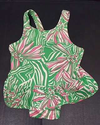 Lilly Pulitzer Baby Girls 6-12 Months Swimsuit, Pink Green White Ruffle