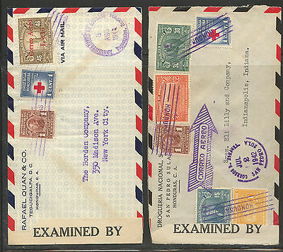 Honduras     2  censor covers  to  US   #'s   2239 and 2224      MS0120