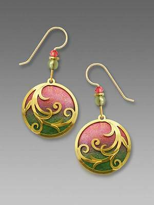 Adajio Earrings Coral & Olive Disc Gold Plated Tendrils Overlay Handmade in USA