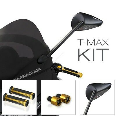 Barracuda Mirrors Rearview + Knobs + Counterweights Oro Yamaha T-Max 500 2009