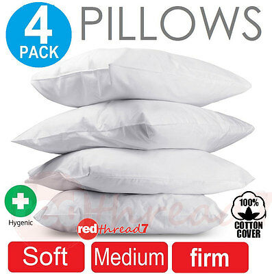 Family 4 Pack Bed Pillows Soft Medium Firm Polyester Premium Cotton Cover 48x73