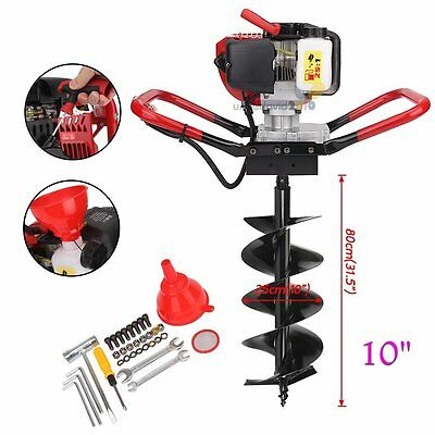 """52CC One Man Gas Power Head Post Hole Digger Earth Auger Machine w/10"""" Drill Bit"""